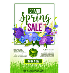 Spring holiday sale flowers poster template vector
