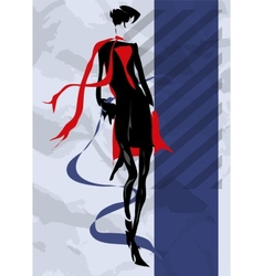 The girl in a black dress and a red scarf vector