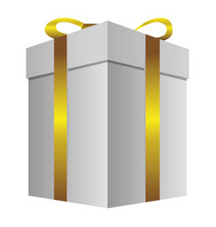 white gift long boxes with gold ribbon icon vector image