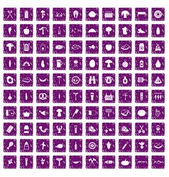 100 barbecue icons set grunge purple vector