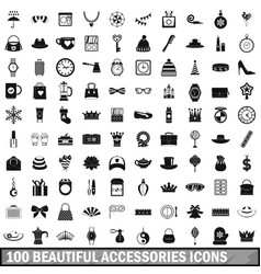 100 beautiful accessories icons set simple style vector