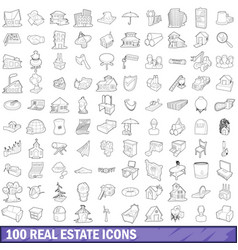 100 real estate icons set outline style vector image