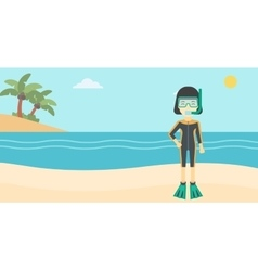 Female scuba diver on beach vector