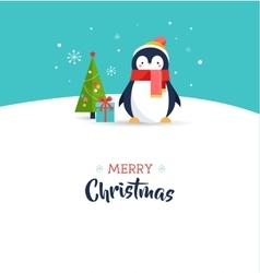 Cute penguin - merry christmas greeting card vector