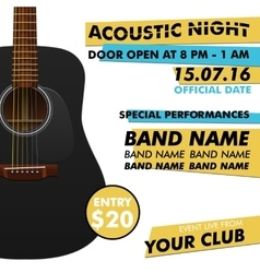 Acoustic night performance poster in your club vector