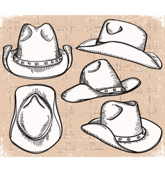 Cowboy hat collection isolated on white for design vector