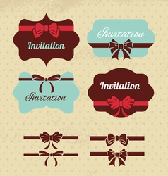 Collection of vintage labels ribbons and bows vector