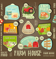 Farm labels collection vector