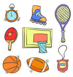 art of sport object various doodles vector image