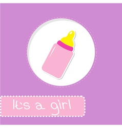 Baby girl bottle shower card vector