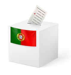 Ballot box with voting paper portugal vector