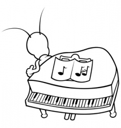 Bug and piano vector