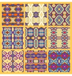 Set of yellow seamless colored vintage geometric vector