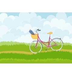 Beautiful simple cartoon meadow with city bike vector