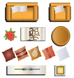 Living room furniture top view set 7 for interior vector