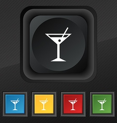 Cocktail martini alcohol drink icon symbol set of vector