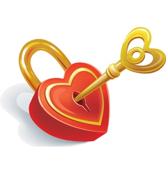 Key and lock in heart shape vector