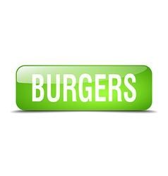 Burgers green square 3d realistic isolated web vector