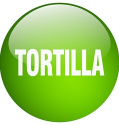 tortilla green round gel isolated push button vector image