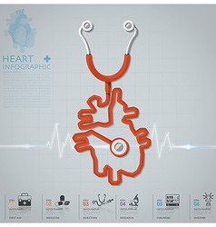 Heart shape stethoscope health and medical vector