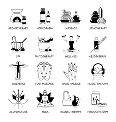 Black alternative medicine icons set vector