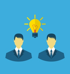 Business people with light bulbs as a concept of vector image vector image