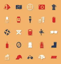 Camping necessary classic color icons with shadow vector