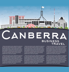 Canberra skyline with gray buildings blue sky and vector