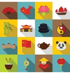 China travel symbols icons set flat style vector