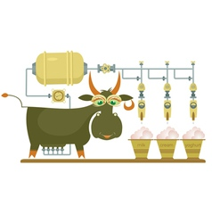 Comic milk farm and cow vector image