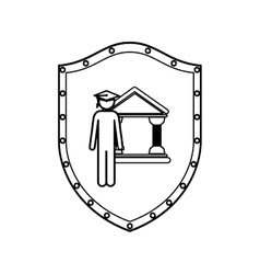 Contour shield with lawyer with graduation hat vector