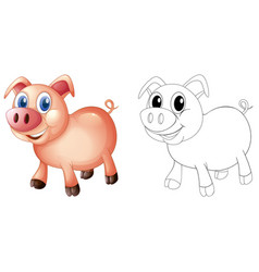 Doodles drafting animal for pig vector