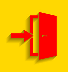 Door exit sign red icon with soft shadow vector