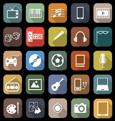 Entertainment flat icons with long shadow vector