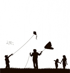 family flying kite vector image