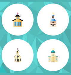 Flat icon christian set of catholic building vector