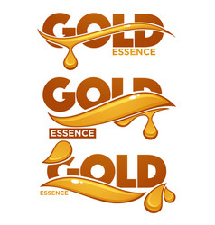Golden oil drops collagen essence gold serum vector