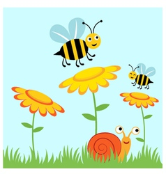 Happy bees and snail vector image vector image