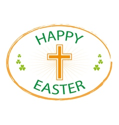 happy easter day stamp style with cross vector image vector image