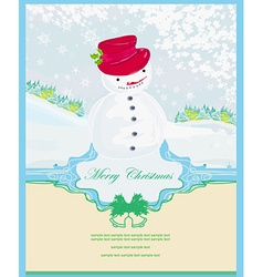 Happy snowman card vector image vector image