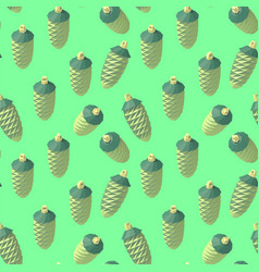 isometric lowpoly fir cone pattern vector image vector image