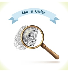 Law icon fingerprint under magnifier vector image vector image