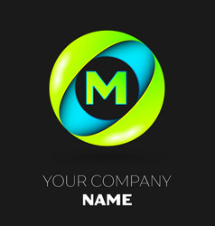 letter m logo symbol in the colorful circle vector image vector image