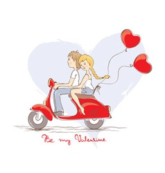 Love on a scooter vector image