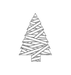 Monochrome christmas tree silhouette covered by vector