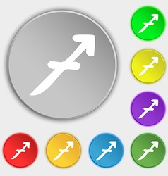Sagittarius icon sign symbol on eight flat buttons vector