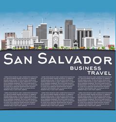 san salvador skyline with gray buildings blue sky vector image vector image