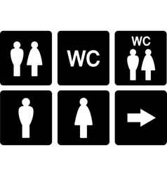 set of WC signs vector image