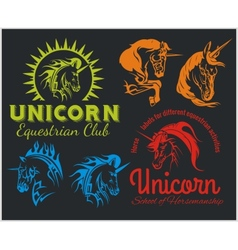 set - Unicorns and horses equestrian labels badges vector image vector image
