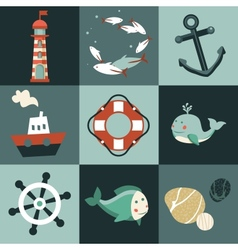 set with nautical design elements vector image vector image